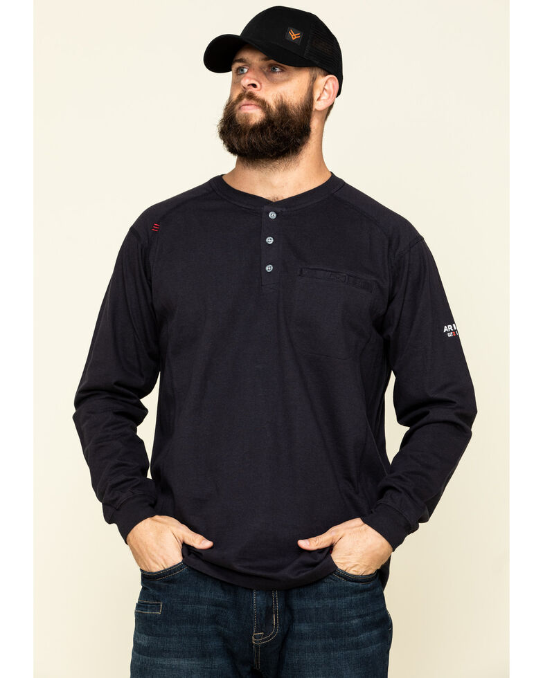 Ariat Men's Black FR Air Henley Soar Graphic Long Sleeve Work T-Shirt , Black, hi-res
