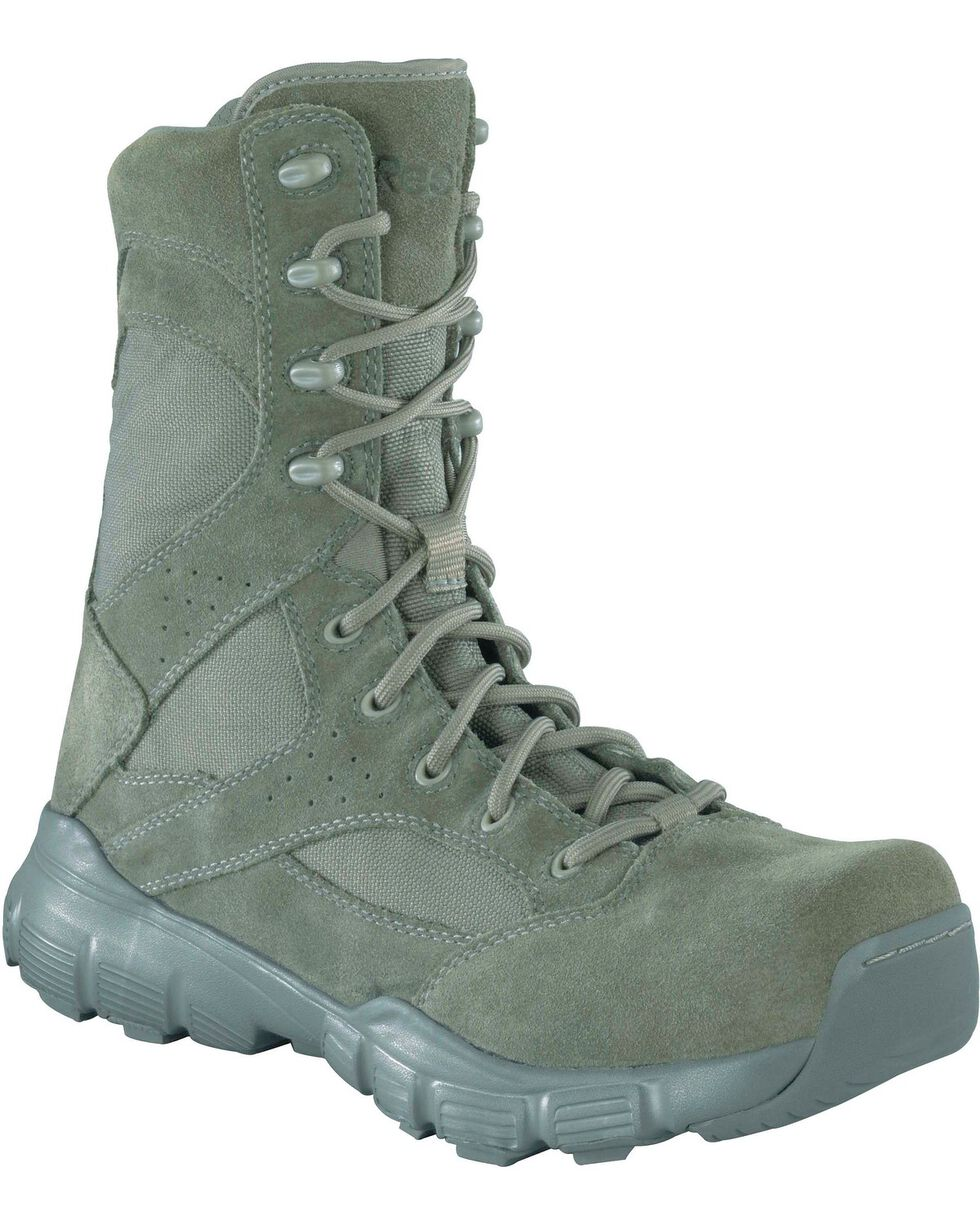"Reebok Men's Dauntless 8"" Lace-Up with Side Zip Work Boots - Composite Toe, Sage, hi-res"