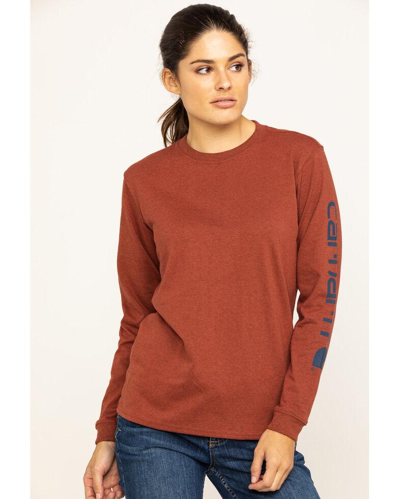 Carhartt Women's Workwear Sleeve Logo Long-Sleeve T-Shirt, Heather Red, hi-res
