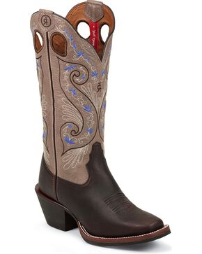 "Tony Lama Women's 3R 13"" Embroidered Buckaroo Boots, Brown, hi-res"