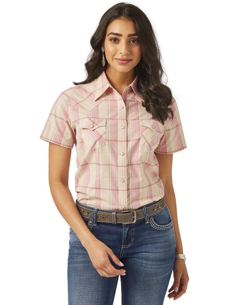Wrangler Women's Blush Plaid Snap Long Sleeve Western Shirt, Blush, hi-res