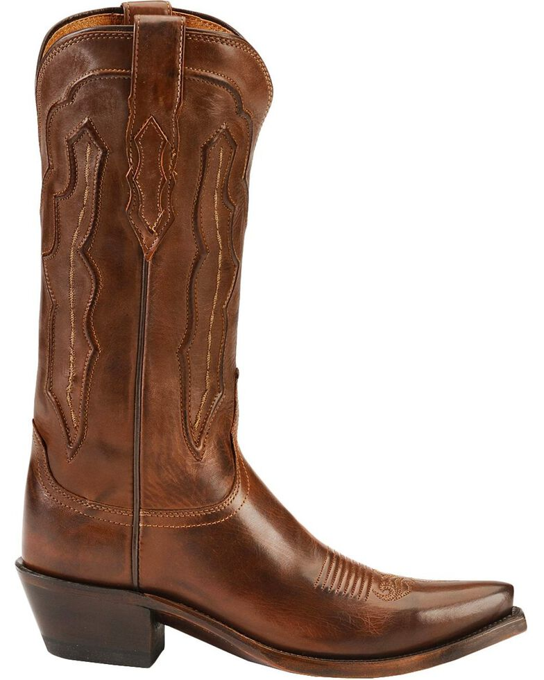 Lucchese Women's Grace Embossed Snip Toe Western Boots, Tan, hi-res