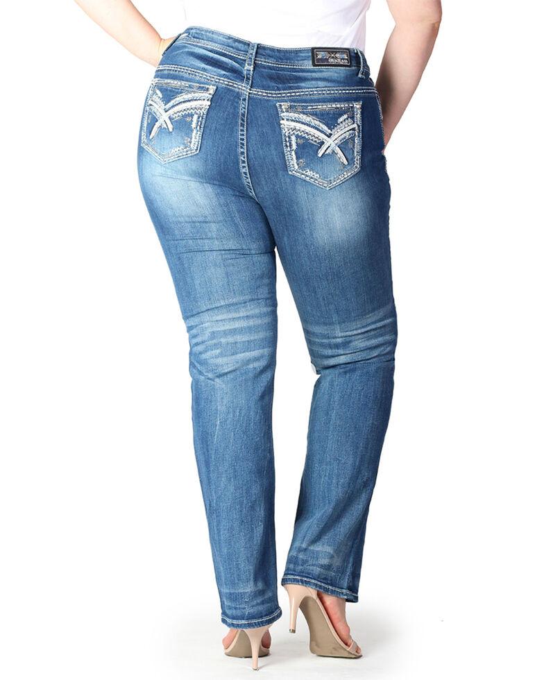 Grace In LA Women's Embroidered Medium Straight Leg Jeans- Plus Size , Blue, hi-res