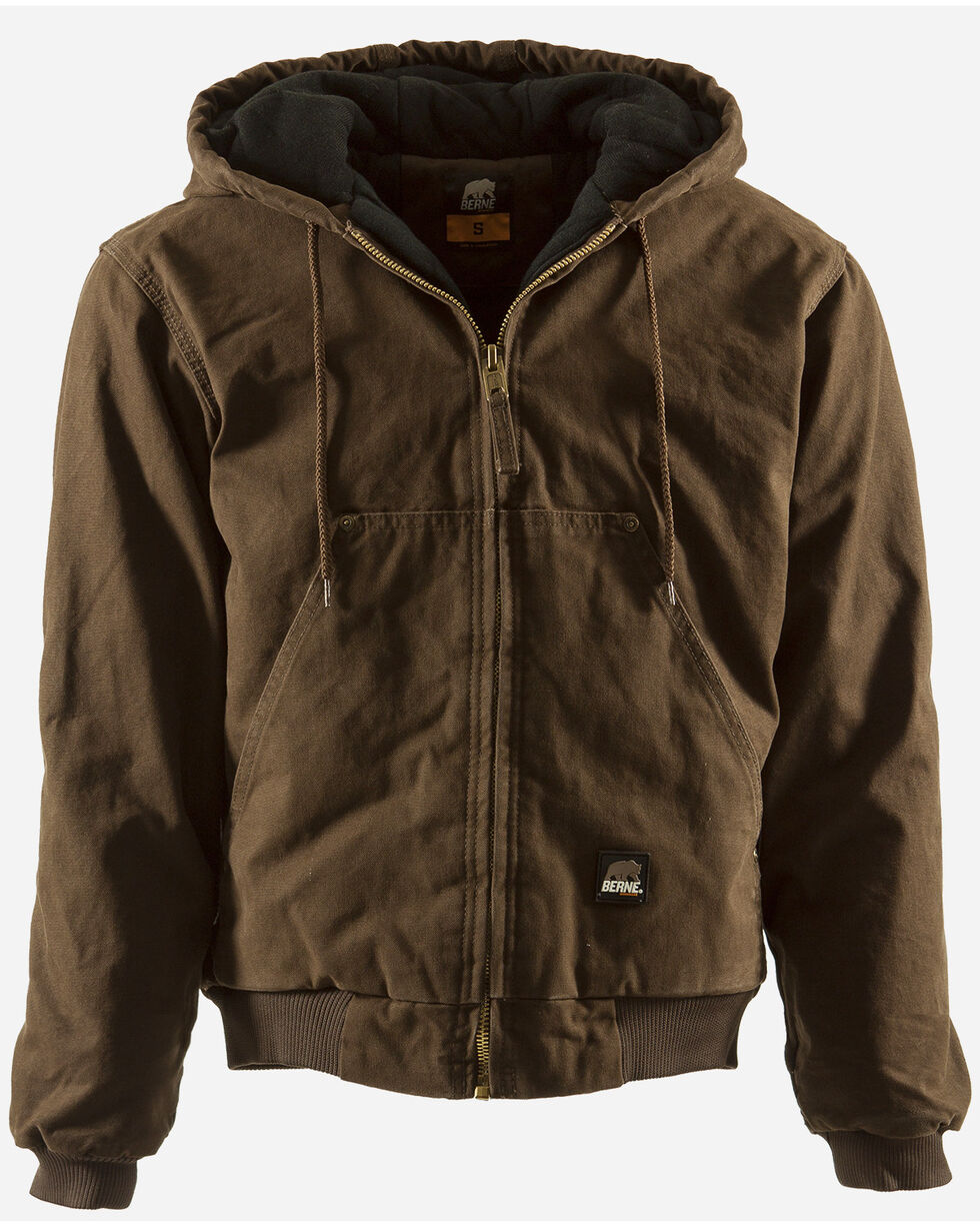Berne Men's Original Washed Hooded Jacket, Bark, hi-res