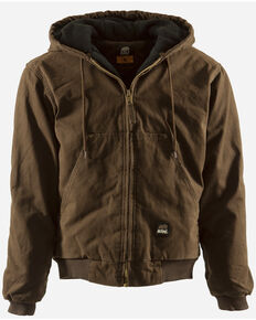 Berne Original Washed Hooded Jacket - Quilt Lined - 5XL and 6XL, Bark, hi-res