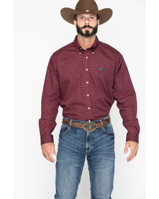 Cinch Men's Burgundy Geo Print Long Sleeve Western Shirt , Burgundy, hi-res