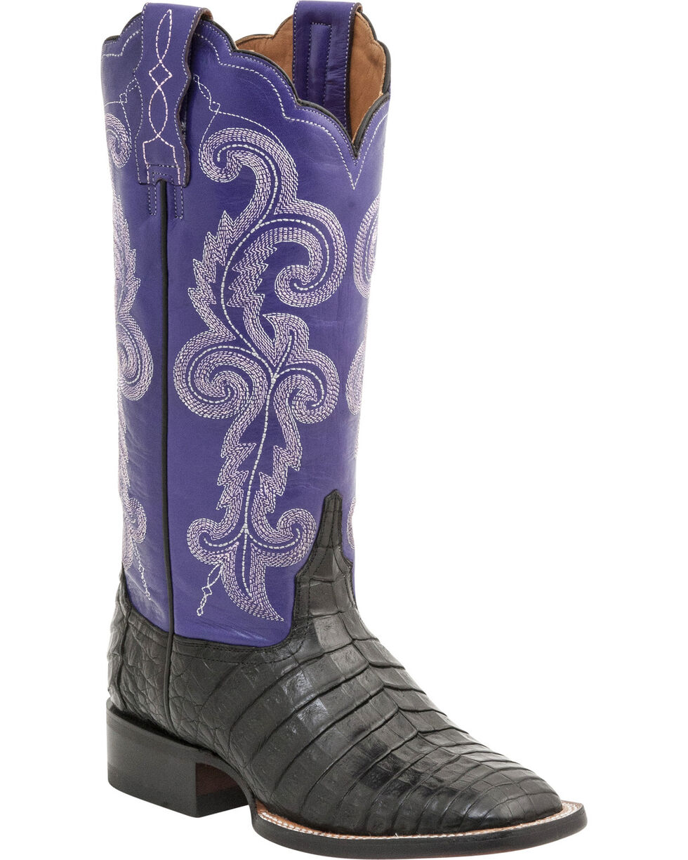 Lucchese Women's Annalyn Exotic Caiman Western Boots, Black, hi-res