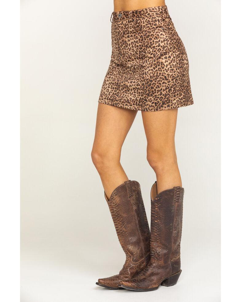 BB Dakota Women's Here Kitty Mini Skirt, Medium Brown, hi-res