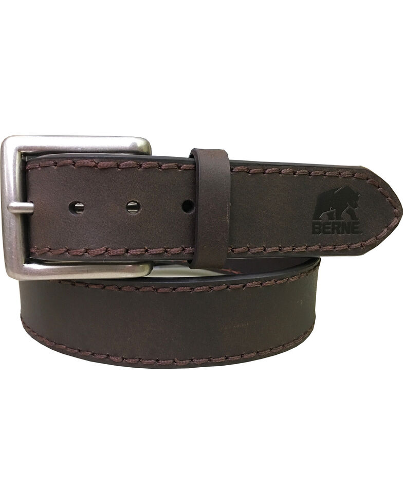 Berne Men's Heavy Stitch Genuine Leather Belt , Brown, hi-res