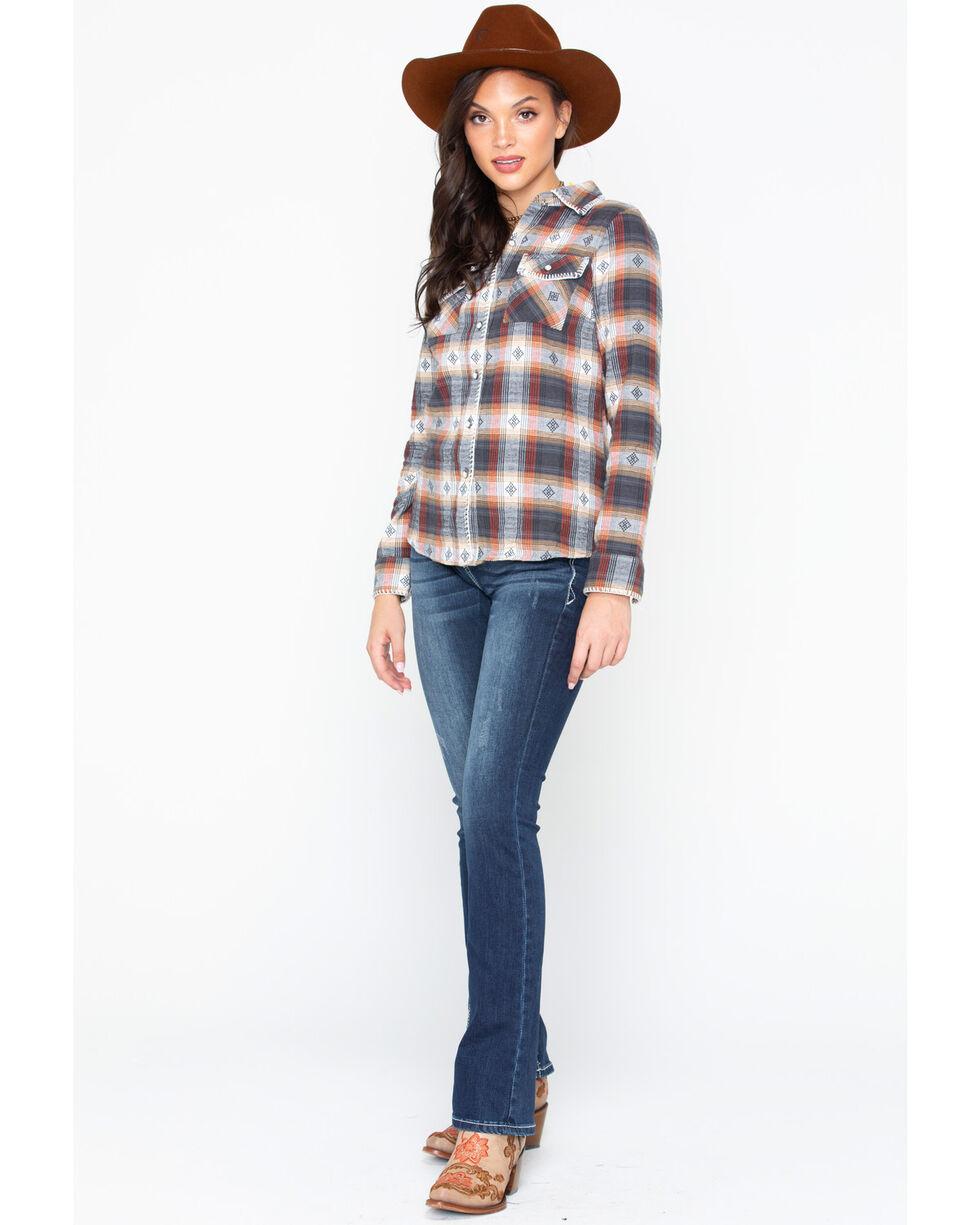 Ivory Love Women's Plaid Whip Stitch Western Shirt , Rust Copper, hi-res