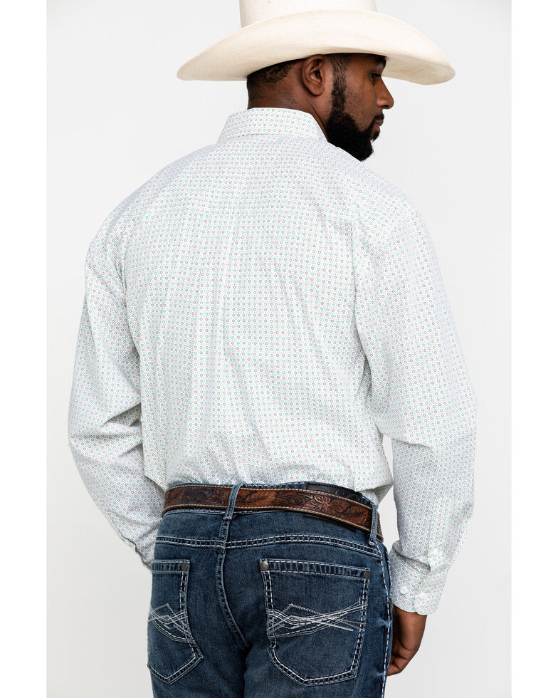George Strait by Wrangler Men's Small Circle Geo Print Long Sleeve Western Shirt - Big , White, hi-res