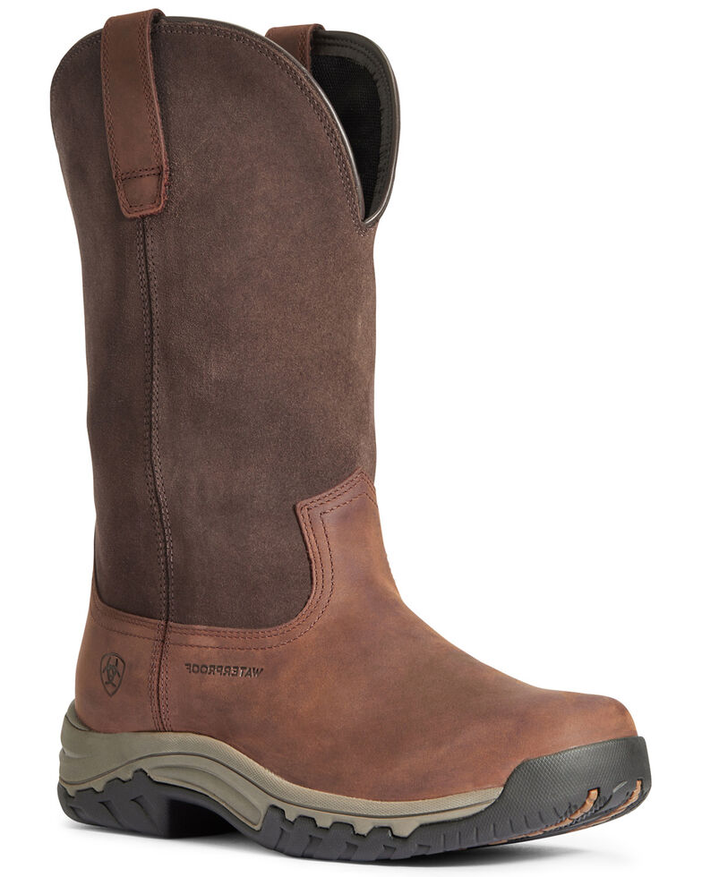 Ariat Women's Terrian Waterproof Western Work Boots - Soft Toe, Brown, hi-res