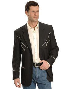 Scully Men's Retro Embroidered Sport Coat, Black, hi-res