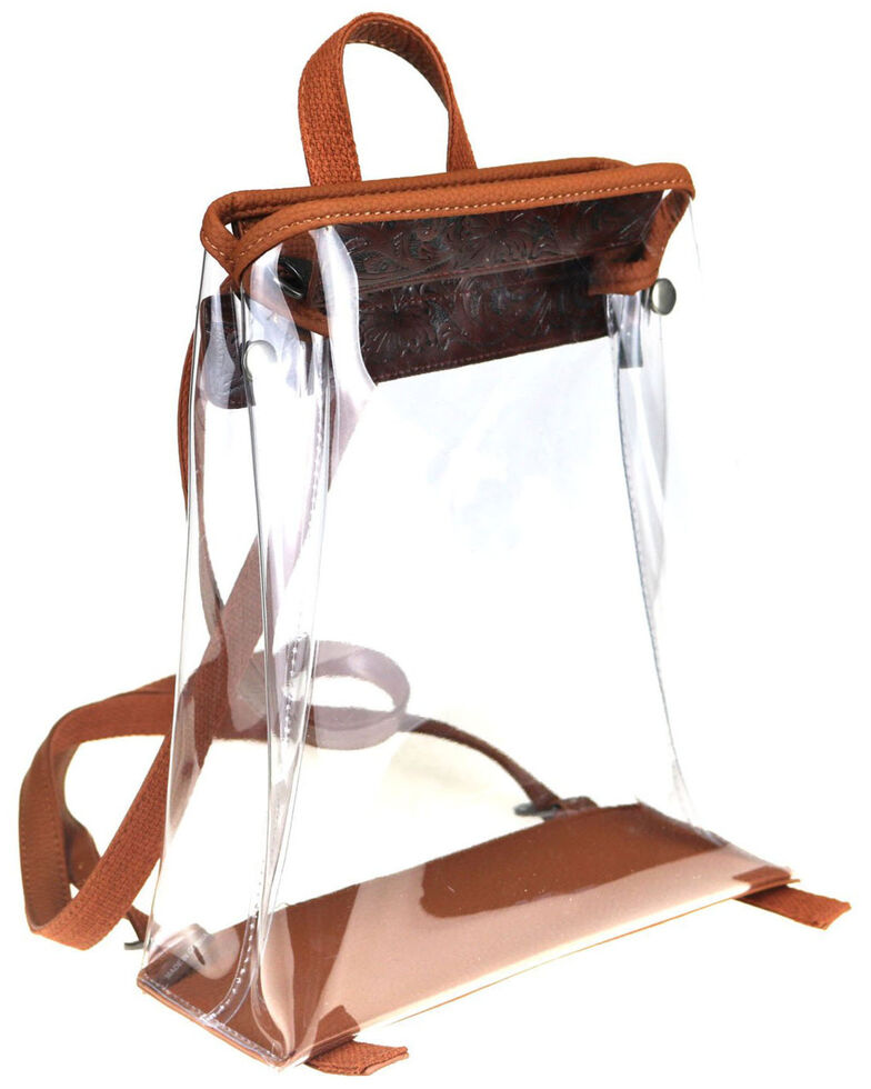 Montana West Women's Savannah Clear Tooled Backpack, Brown, hi-res