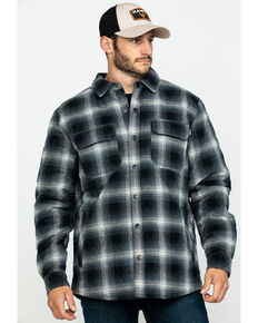 Hawx® Men's Black Quilted Plaid Shirt Work Jacket - Tall , Black, hi-res