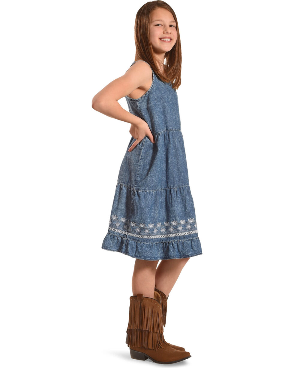 Silver Toddler Girls' Sleeveless Tiered Denim Dress, Blue, hi-res