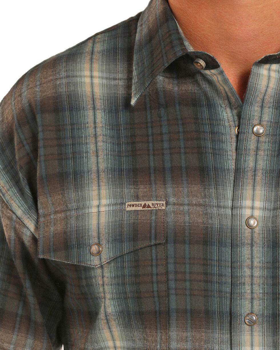 Powder River Men's Brown Bandera Brushed Twill Plaid Western Shirt, Brown, hi-res