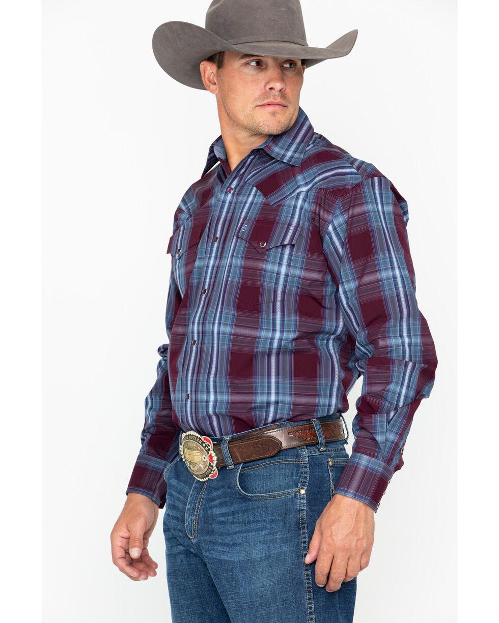 Stetson Men's Large Plaid Snap Long Sleeve Western Shirt , Wine, hi-res