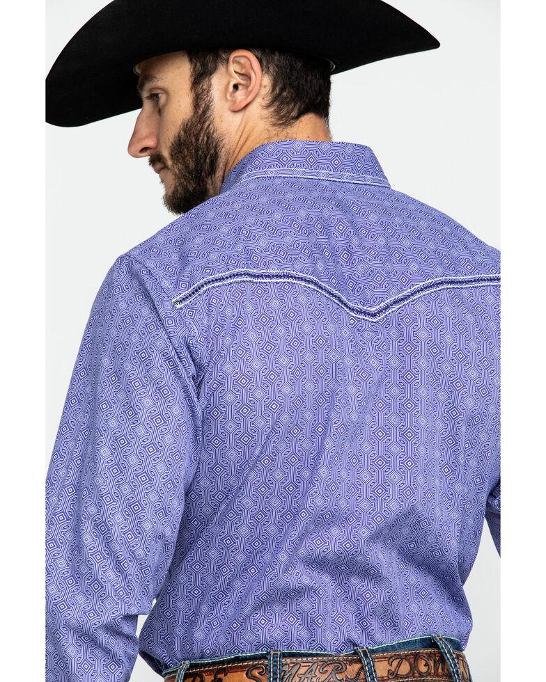 Rock 47 By Wrangler Purple Geo Print Long Sleeve Western Shirt , Purple, hi-res