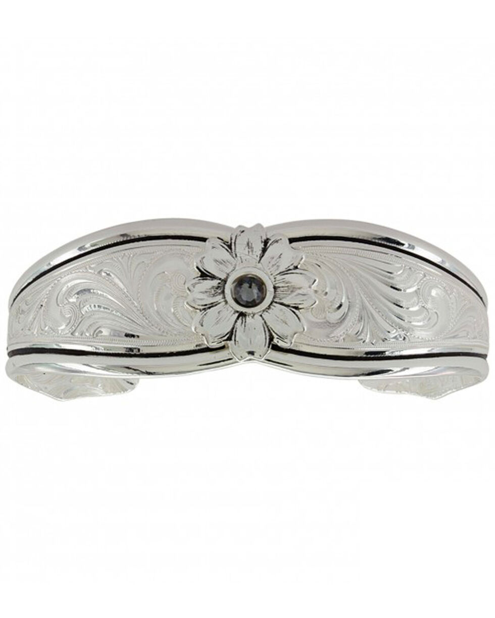 Montana Silversmiths Women's Evening Star Flower Cuff Bracelet , Silver, hi-res