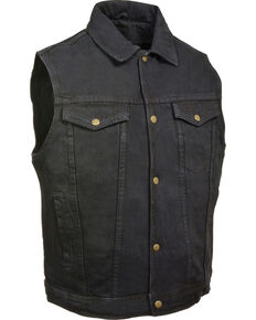 Milwaukee Leather Men's Snap Front Denim Vest w/ Shirt Collar- Big - 5X, Black, hi-res