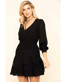 Flying Tomato Women's Black Lace Dress, Black, hi-res