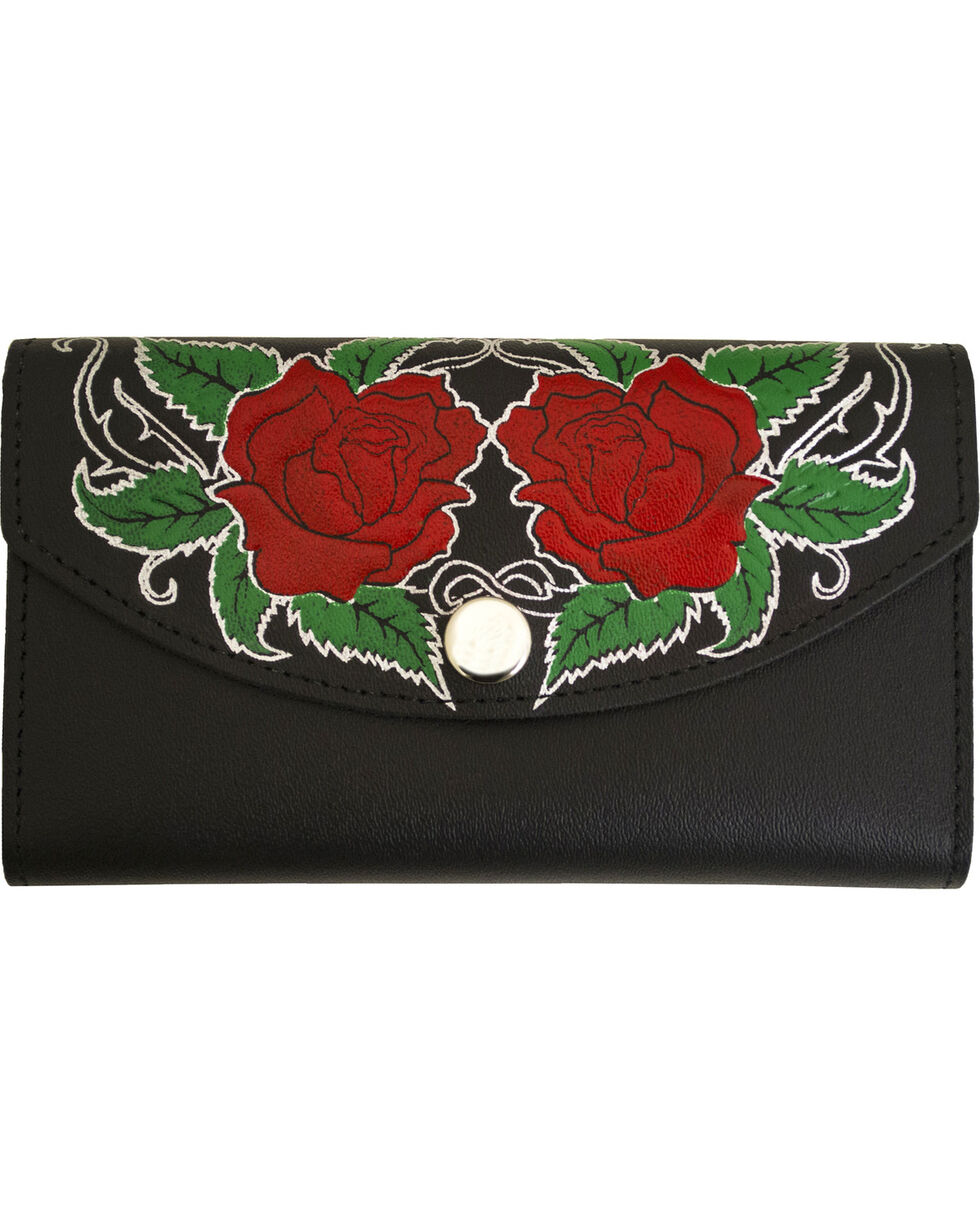 Western Express Women's Rose Black Leather Organizer Wallet, Black, hi-res