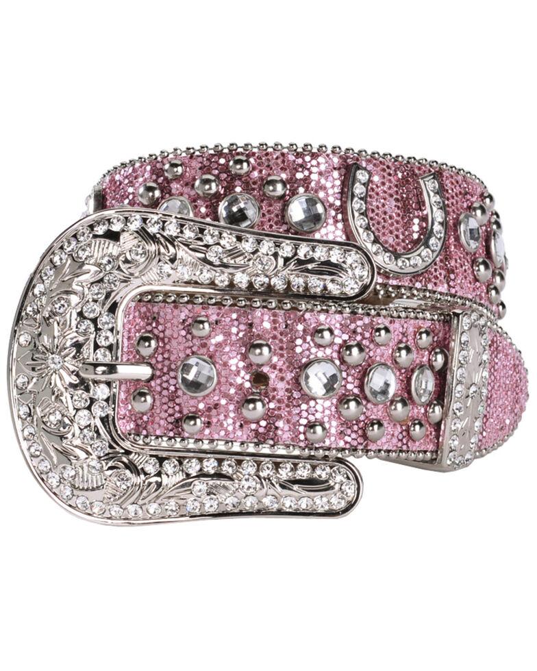 Nocona Belt Co. Kid's Pink Glitter Horseshoe Belt, Pink, hi-res