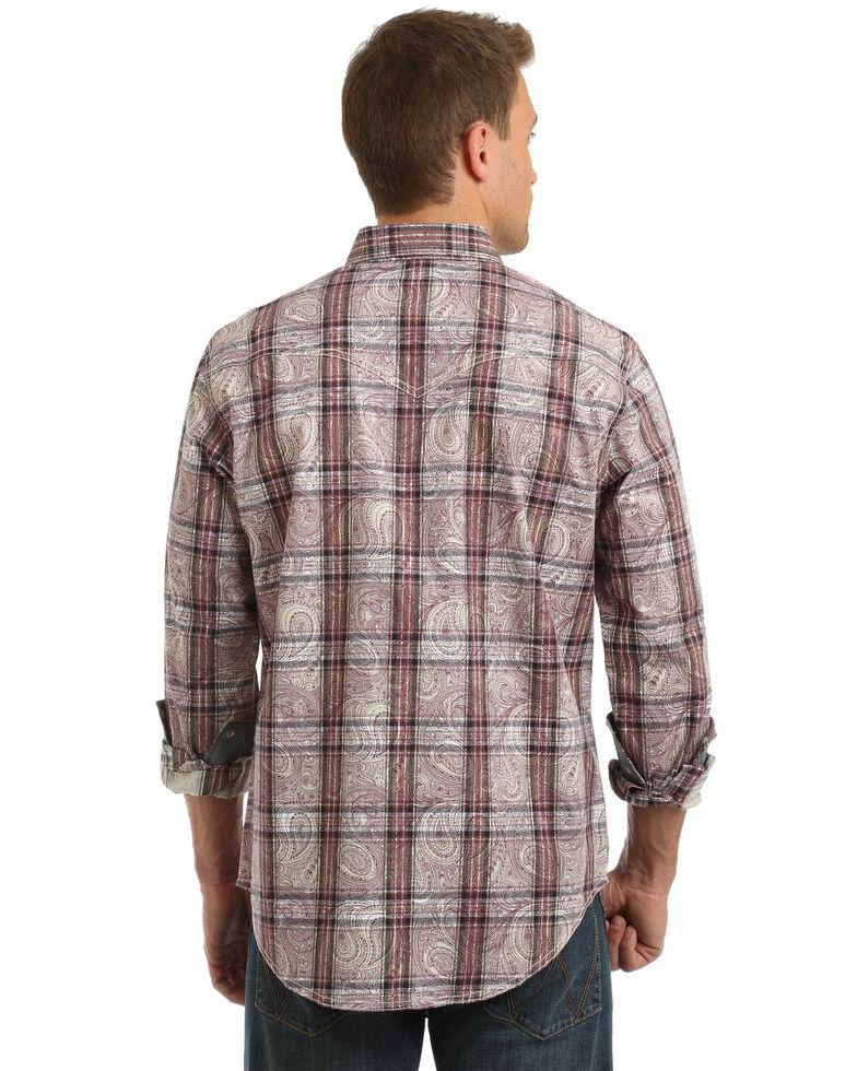 Wrangler Retro Men's Paisley Plaid Long Sleeve Western Shirt , Tan, hi-res