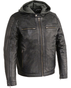 Milwaukee Leather Men's Zipper Front Leather Jacket w/ Removable Hood - Big - 4X, Black, hi-res