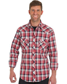 Wrangler Retro Men's Red Long Sleeve Plaid Shirt , Red, hi-res