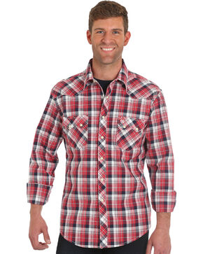 Wrangler Men's Retro Red Long Sleeve Plaid Shirt - Big & Tall, Red, hi-res