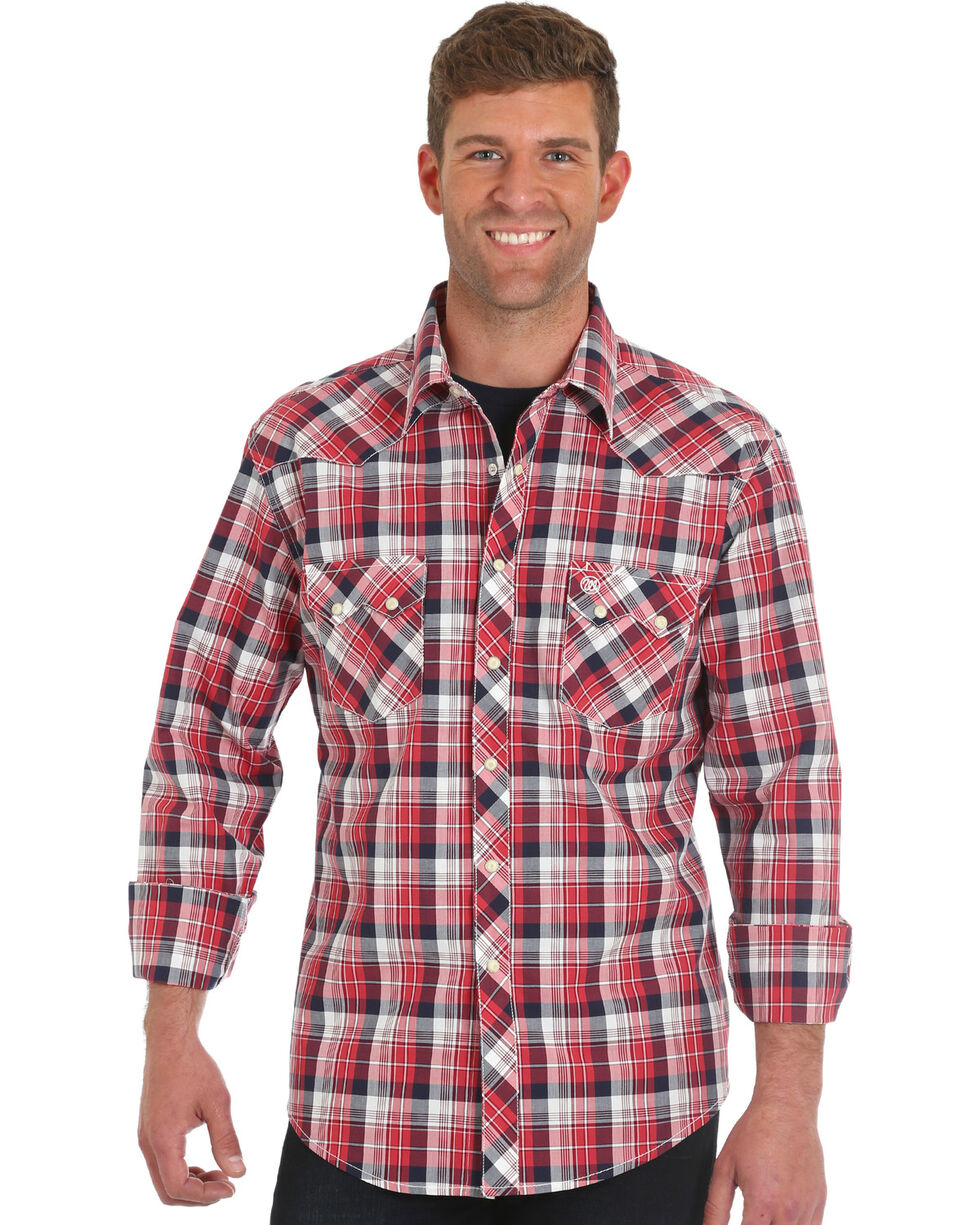 Wrangler Men's Retro Red Long Sleeve Plaid Shirt - Big & Tall, Red, hi-res
