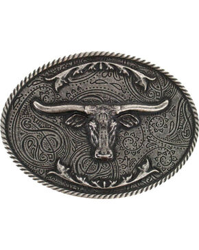 Cody James® Longhorn Antiqued Silver-Tone Oval Belt Buckle, Silver, hi-res