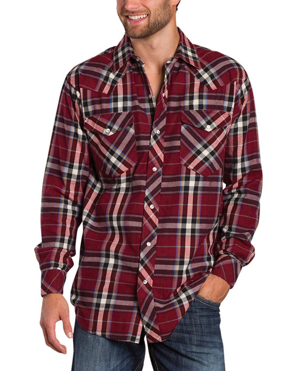 Resistol Double R Men's Gillete Plaid Long Sleeve Shirt, Dark Red, hi-res