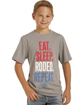 Panhandle Boys' Eat Sleep Rodeo T-Shirt, Grey, hi-res