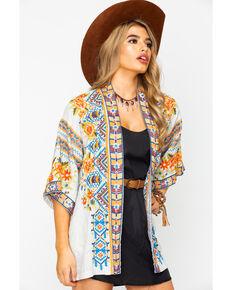 Johnny Was Women's Sentrie Linen Kimono, Sand, hi-res