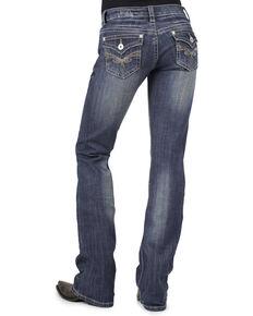 Stetson Women's 818 Fit Rhinestone Bootcut Jeans, Denim, hi-res