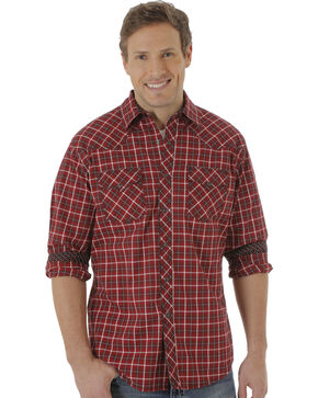 Wrangler 20X Men's Dark Red Plaid Long Sleeve Western Shirt, Red, hi-res
