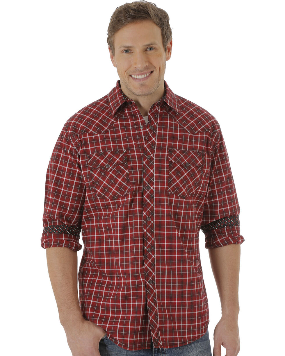 Wrangler 20X Men's Dark Red Plaid Long Sleeve Western Shirt, Red, hi-res