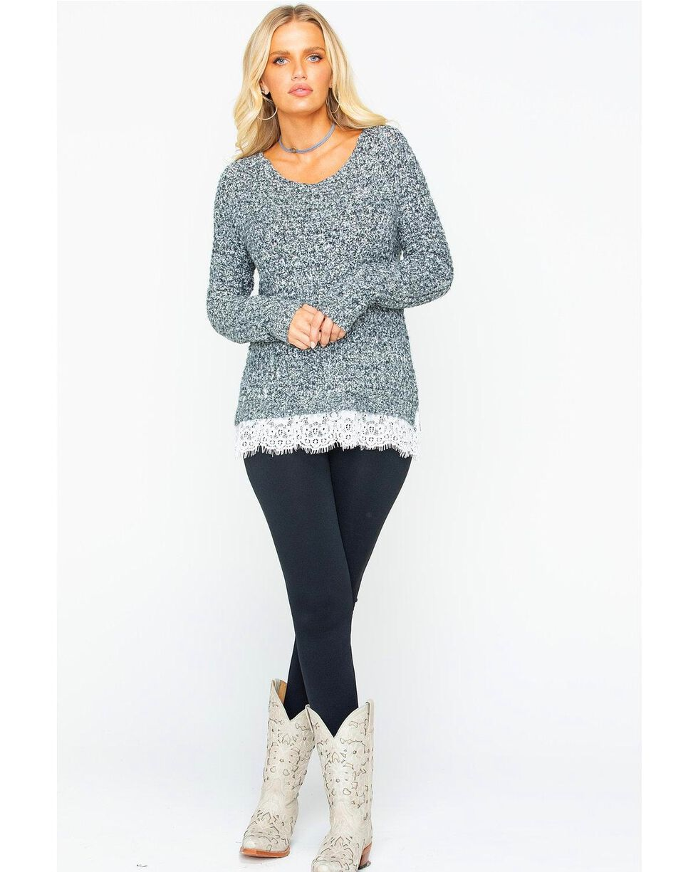 Shyanne Women's Lace Knit Sweater, Charcoal, hi-res