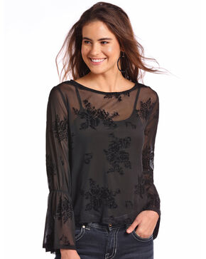 Panhandle Women's Floral Fine Mesh Long Sleeve Top , Black, hi-res