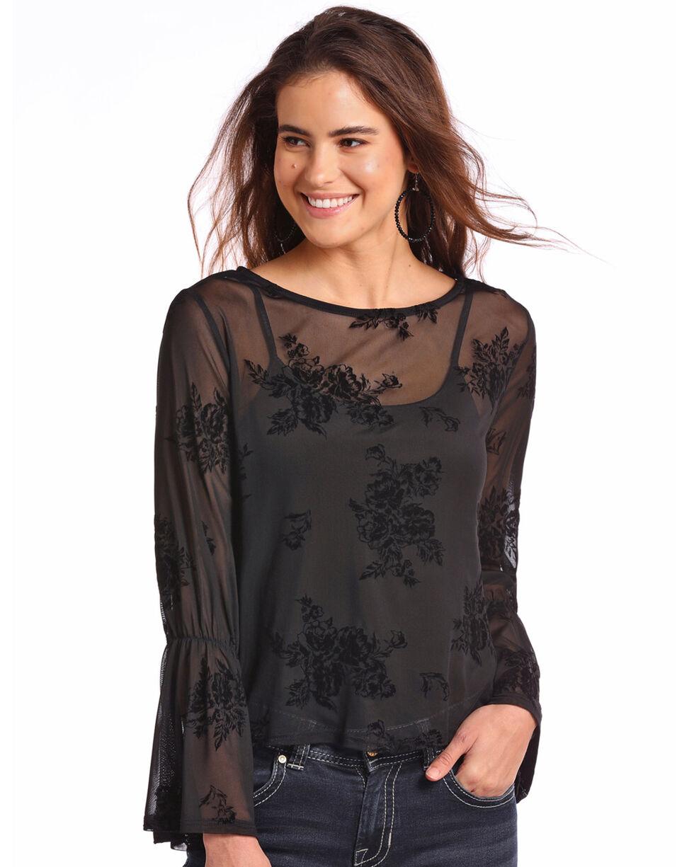 Panhandle Women's Floral Fine Mesh Top , Black, hi-res