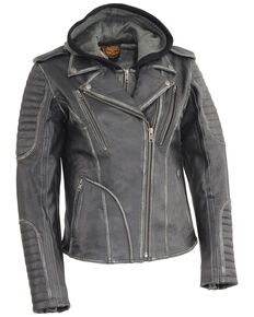 Milwaukee Leather Women's Rub-Off Hoodie Motorcycle Leather Jacket - 5X, Black, hi-res