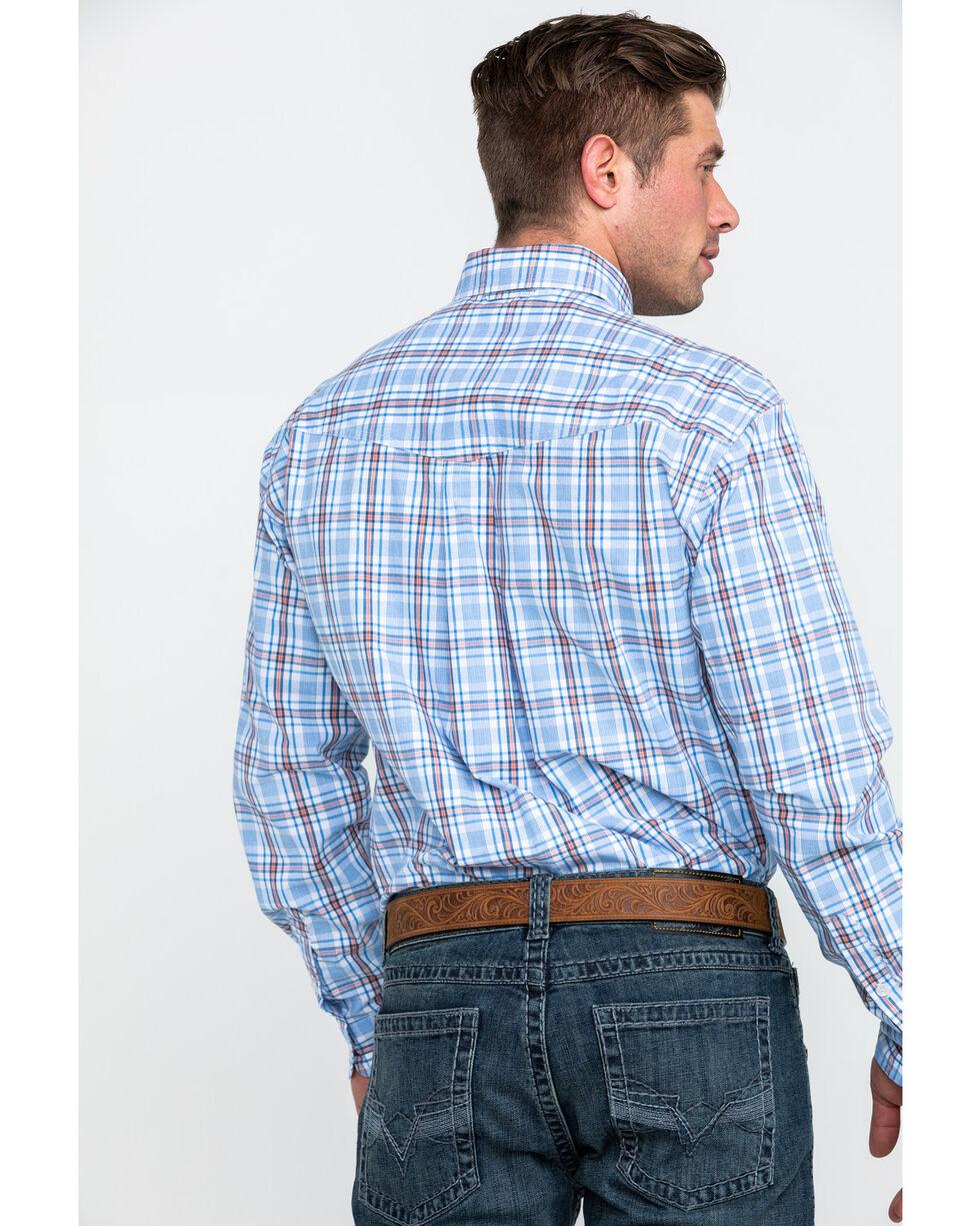 Roper Men's Blue Small Plaid Long Sleeve Western Shirt , Blue, hi-res
