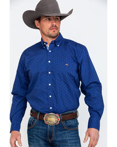 Resistol Men's Solid Sorraia Dot Long Sleeve Western Shirt , Blue, hi-res