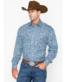 Roper Men's Large Paisley Print Snap Long Sleeve Western Shirt , Blue, hi-res