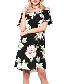 Ces Femme Women's Floral Off The Shoulder Dress, Black, hi-res