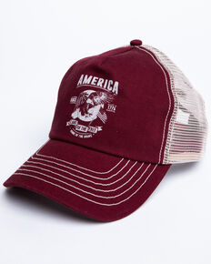 Cody James Men's Burgundy America Free Patch Mesh Ball Cap , Burgundy, hi-res