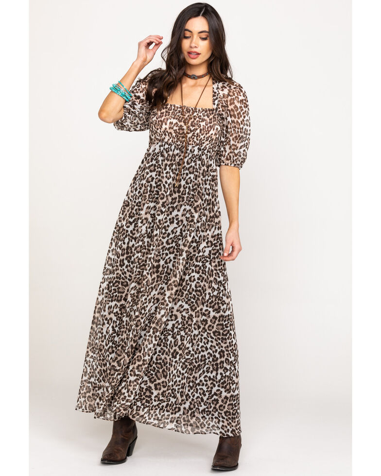 Flying Tomato Women's Leopard Chiffon Maxi Dress, , hi-res